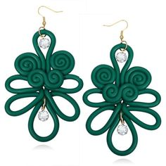 Polymer Clay Chinese Knot Earrings Green ($2.95) ❤ liked on Polyvore