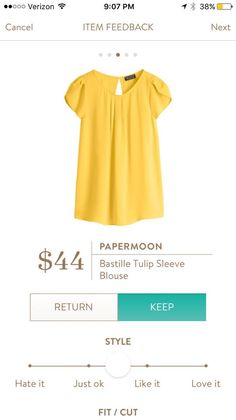 Papermoon Bastille Tulip Sleeve Blouse in yellow. So freaking cute! Would wear ALL of the time! Please send!