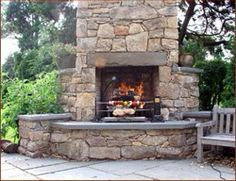 Stone fireplace and bbq