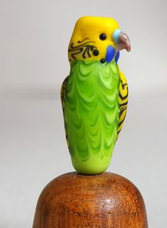 parakeet green lampwork glass parrot bead by Cleo by GramaTortoise, $42.00