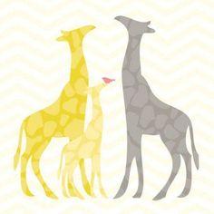 Oopsy Daisy - Modern Giraffes - Yellow Canvas Wall Art 18x18, Stacy Amoo-Mensah