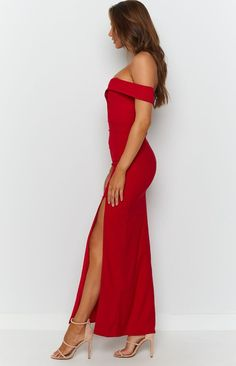 Our Red Lizzy Formal Dress is such a crown-worthy dress! This sexy off-the-shoulder dress will have you sizzling on the dance floor with its thigh-high split and form-fitting design! Complete the look with nude heels and gold statement earrings! Red Off-The-Shoulder Formal Dress Thigh High Side Split Off-The-Shoulder Wide Strap Sleeves Sweetheart Neckline Welcome to The Edit, the latest luxe label brought to you exclusively by Beginning Boutique. The Edit is a collection of premium products Next Dresses, Glam Dresses, Formal Dresses, Silky Prom Dress, Gold Statement Earrings, Buy Dresses Online, Prom Dress Shopping, Perfect Prom Dress, Nude Heels