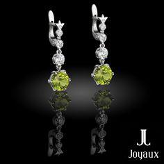 Olivine diamond dangle earrings Diamond Dangle Earrings, Natural Gemstones, Dangles, Jewelry Making, Jewellery Making, Make Jewelry, Diy Jewelry Making