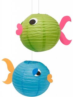 Make fish decorations out of paper lanterns for an under the sea theme party! Under The Sea Theme, Under The Sea Party, Little Mermaid Parties, Paper Lanterns, Fish Lanterns, Chinese Lanterns, Hanging Lanterns, Luau Party