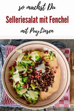 Stangensellerie-Fenchel-Salat mit Linsen - Kochen macht glücklich Salate Im Winter, Hummus, Salads, Good Food, Brunch, Food And Drink, Vegetarian, Snacks, Dinner