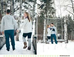 Winter in the Mountains - Kristeen and Colt's Montana Engagement Portraits at Sky Ridge Ranch - Photos by Kristine Paulsen Photography