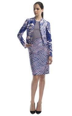 Missoni Resort 2013, Rose print bomber jacket, knit shell, netted print pencil skirt