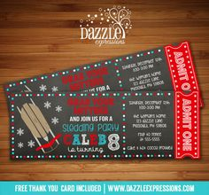 Printable Chalkboard Sledding Ticket Birthday Invitation | Brrr-thday | Sled Party | Boy or Girl Winter Party Idea | Snow Party | Snow Tube | Tubing | Hot Cocoa | Digital File | FREE thank you card included | Matching Printable Party Package Available!  Banner | Cupcake Toppers | Favor Tag | Food and Drink Labels | Signs |  Candy Bar Wrapper | www.dazzleexpressions.com