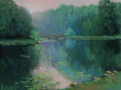 Diamond Spring by Annette Hanna. A lovely park in Denville, New Jersey that was painted in pastel. One day in summer in passing on a hazy morning I saw it and had to paint it.