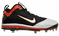 Nike Air Max Diamond Elite Metal Mens Baseball Cleats, Black / Orange, New, 14