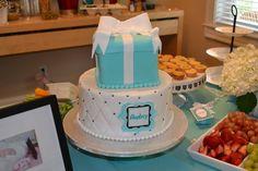 Breakfast at Tiffany's themed birthday party. Incredible birthday cake (Tiffany box cake)