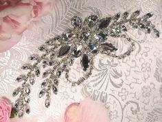 XR119  Silver Crystal Clear Rhinestone Applique Embellishment 7.5