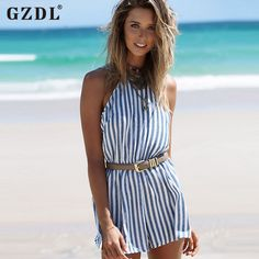 ad40d33b364a GZDL Casual Summer Women Beach Party Playsuit Sexy Slim Striped Halter  Bodysuit Backless Off Shoulder Rompers Jumpsuit CL2841-in Rompers from  Women s ...