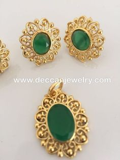 Gold Jewelry Sajal emerlad faux stone pendant earrings and finger ring set - Deccan Pearls and Jewellery - Ready to ship made using faux emerald stone 22 carat gold plated delivered in days within USA days worldwide Gold Ring Designs, Gold Earrings Designs, Gold Jewellery Design, Fancy Jewellery, Resin Jewellery, Jewellery Earrings, Temple Jewellery, Diamond Jewellery, Handmade Jewellery