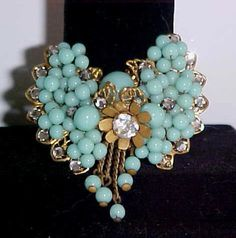 MIRIAM HASKELL Style 1930's Wired BEADED FILIGREE PIN BROOCH Turquoise DANGLES  qbeeboop (seller) ebay.com