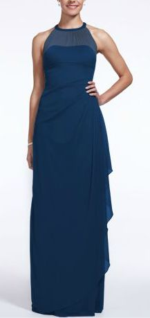 David's Bridal Long Mesh Bridesmaid Dress with Illusion Neckline. Style F15662 in Marine.
