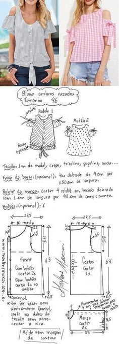DIY – molde, corte e costura – Marlene Mukai. Blusa com ombro vazado. Esquema de modelagem de blusa com ombros vazados do 36 ao 56.