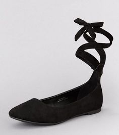 Teens Black Suedette Tie Up Pumps | New Look