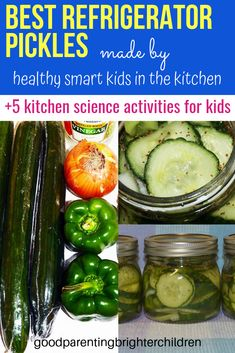The best refrigerator pickles. Quick & easy for kids to make & nutritious. Kids will learn about all things fermented in the kitchen. Use the cucumbers from your garden for a multi-sensory experience. Refrigerator Pickle Recipes, Best Refrigerator, Healthy Eating Recipes, Healthy Snacks For Kids, Kids Picnic, Picnic Ideas, Cucumber Benefits, Kitchen Science, Essential Oils For Kids