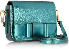 Burberry Prorsum Metallic textured-leather shoulder bag