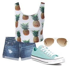 """""""Pineapple"""" by emerson-lea on Polyvore featuring AG Adriano Goldschmied, Converse and Ray-Ban"""