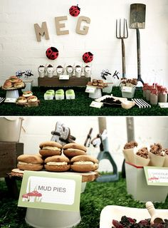 Such a creative little garden party. And what's a garden party without mud pies, dirt cake in little flower pots and chocolate mud milk! The details are perfect.