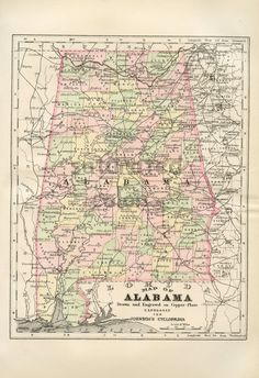 Antique Alabama Map - Vintage Map - Original 1895 Map of Alabama Bama. $25.00, via Etsy.