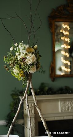 Tall Birch Centerpiece. Flowers by Rose Red and Lavender at the Metropolitan Building