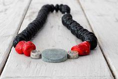 Lava Rock Necklace Gemstone Black Lava Red Coral by SunSanJewelry Handmade Jewelry, Unique Jewelry, Handmade Gifts, Rock Necklace, Red Coral, Trip Planning, Lava, Jewelery, Gemstones