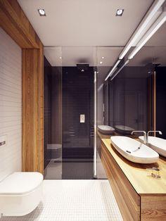 Douche italienne, bois et verre trempé pour un design toujours aussi épuré