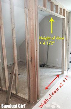 How to install a pocket door frame - Sawdust Girl® Pocket Door Frame, Door Installation, Pocket Doors Bathroom, Make A Door, French Pocket Doors, Build A Closet, Diy Door, Door Frame, Home Design Diy
