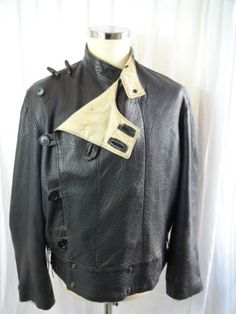 Vtg WW2 style 50s leather Swedish army dispatch riders motorcycle tanker jacket | eBay