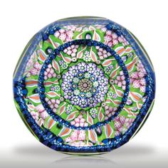 selman Paperweight | Perthshire Paperweights 1991 patterned millefiori faceted paperweight.