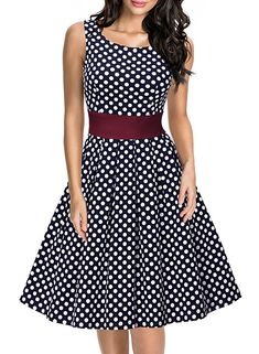 Miusol Women's Vintage Cut Out Polka Dot 1950'S Bridesmaid Swing Dress Navy Blue, Small