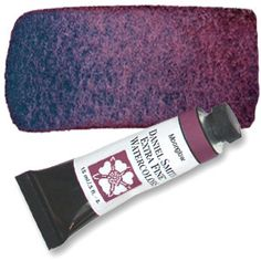 """Moonglow (PG18 PB29 PR177) 15ml Tube, DANIEL SMITH Extra Fine Watercolor """" Water frees this amazing three-pigment blend to perform miracles. Watch and wait as Anthraquinoid Red floats, Ultramarine Blue settles and Viridian grays the resulting violet color. Selectively blot and lift a surface wash to expose delicate blue-greens."""""""