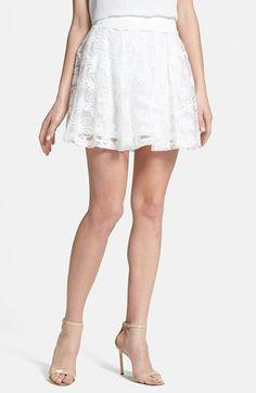 $44, White Lace Skater Skirt: MinkPink Renaissance Embroidered Mesh Skater Skirt White Medium. Sold by Nordstrom. Click for more info: https://lookastic.com/women/shop_items/76870/redirect