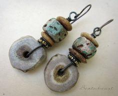 RESERVED    Dear Heart. dangle beaded earrings boho by beatnheart, $52.00