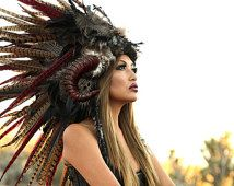 Headdress/MADE-TO-ORDER-Feather Mohawk/ Warrior Headdress/ Native American Headdress/ Horned Headdress/ Tribal Headdress/ African Headdress