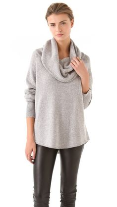 For cold winter days.     Joie Wesley Marbled Sweater  An oversized cowl neckline relaxes a marled sweater from Joie, while the boxy cut feels cozy and effortless. Ribbed cuffs finish the long sleeves.    Fabric: Marled knit.  33% viscose/23% nylon/22% wool/18% cotton/4% cashmere.  Hand wash.  Imported, China.    MEASUREMENTS  Length: 21in / 53.5cm, from shoulder    $338
