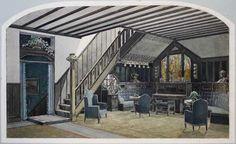 """Wartehalle zwischen 2 Etagen. Originalentwurf. Aquarell über Bleistift um 1900. 21,2 x 35,5 cm. Auf Kart. aufgezogen u. dort bez. """"Buch"""" (?)."""