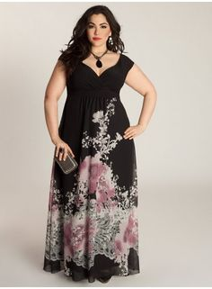 Plus Size Maxi Dress Plus Size Fashion at www.curvaliciousclothes.com #plussize #curvy #fashion  Look smoldering in summer black with pops of pink in this Abigail Maxi Dress. Style this bohemian-esque maxi for day to night, casual or all dressed up with strappy sandals or heels of your choice.