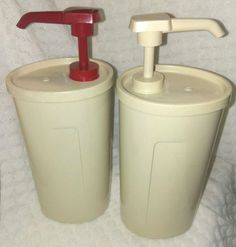 TUPPERWARE Ketchup Mayo Condiment Dispensers Pump Containers #640 Almond NEW #Tupperware