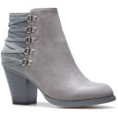 ShoeDazzle Booties Landy Womens Gray ❤ liked on Polyvore featuring shoes, boots, ankle booties, booties, grey, grey bootie, gray bootie, gray ankle boots, gray ankle bootie and short boots