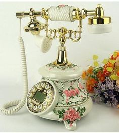 New Fashion Vintage Old Fashioned Pink Rose Telephone Classical European style, Antique Telephone, China Wholesale Town Supplier European Decor, European Style, European Fashion, Vintage Phones, Vintage Telephone, Telephone Call, Pink Fashion, New Fashion, Vintage Fashion