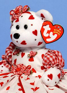 Queen Of Hearts, Tina Tate custom dressed and decorated Ty Beanie Baby reference information and photos. Beanie Baby Bears, Ty Beanie Boos, Ty Stuffed Animals, Plush Animals, Ty Toys, Kids Toys, Ty Bears, Ty Babies, Original Beanie Babies