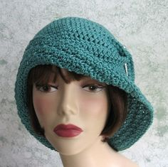 Womens Crochet Hat Pattern Flapper Style With Large Brim PDF