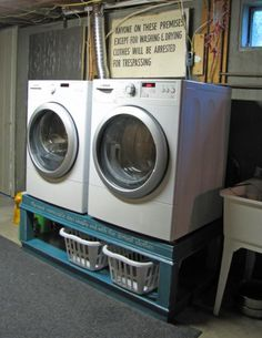 washer and dryer pedestals to sort laundry