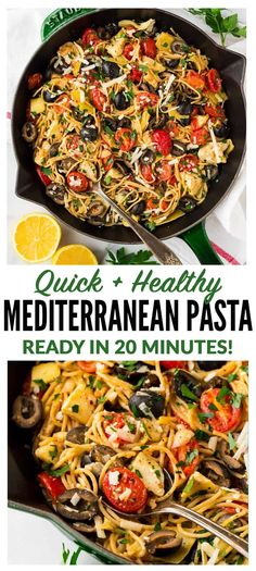 Mediterranean Pasta with artichoke, tomato, garlic, and lemon. One of our favorite fast and healthy pasta recipes! Easy to make, warm, and filled with bright flavor! Keep the recipe vegetarian or serve with chicken or shrimp. #healthy #pasta #mediterranean via @wellplated #mediterraneanrecipeshealthy