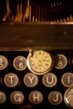 antique, clock, keyboard