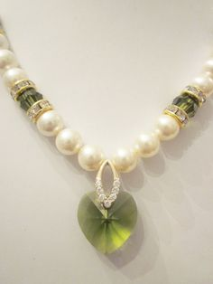 Swarovski Pearl and Crystal Necklace  Cream by CreationsbyCynthia1
